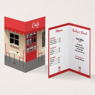 tarjeta de visita roja de restaurante del café
