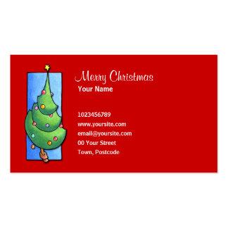 Tarjeta de visita roja del árbol de navidad