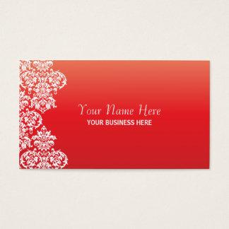 Tarjeta de visita roja del damasco de la pendiente