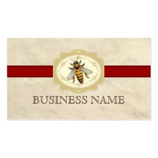 Tarjeta de visita roja real de la abeja de la text