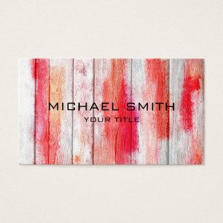 Tarjeta De Visita Rojo en colores pastel en la madera #2