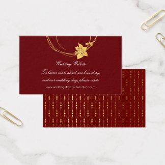 Tarjeta De Visita Rojo floral del Web site del boda del oro marrón