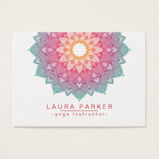 Tarjeta De Visita Rosa de la yoga de la flor de Lotus de la mandala