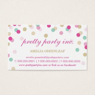 TARJETA DE VISITA:: rosa elegante del confeti +