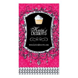 Tarjeta de visita rosada bonita de la panadería de