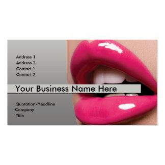 Tarjeta de visita rosada de los labios