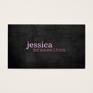 Tarjeta de visita rosada de madera negra de la