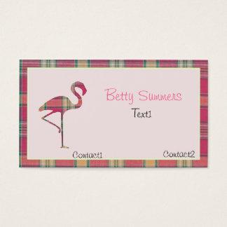 Tarjeta de visita rosada del flamenco de la tela
