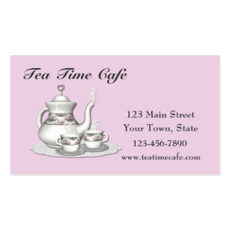 Tarjeta de visita rosada del juego de té