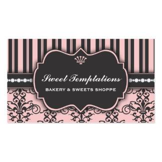 Tarjeta de visita rosada elegante de la panadería