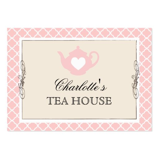 Tarjeta de visita rosada elegante del café del té