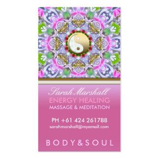 Tarjeta de visita rosada holística curativa de la