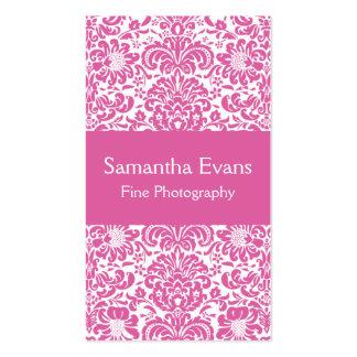 Tarjeta de visita rosada y blanca del damasco
