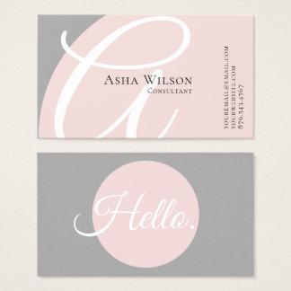 Tarjeta de visita rosada y gris elegante con clase