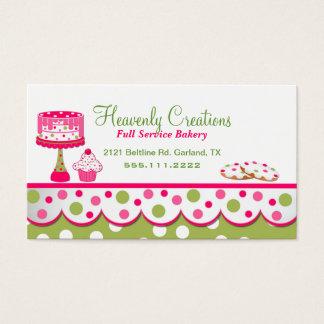 Tarjeta de visita rosada y verde bonita de la