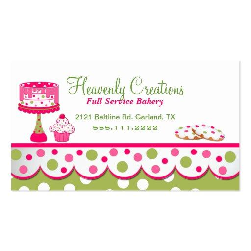 Tarjeta de visita rosada y verde bonita de la pana