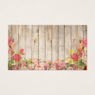 Tarjeta De Visita Rosas románticos rústicos del vintage de madera