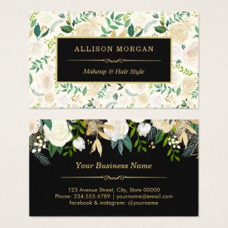 Tarjeta De Visita Salón de belleza elegante floral de la acuarela