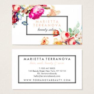 Tarjeta De Visita Salón de belleza rayado floral elegante del