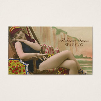Tarjeta De Visita salón de bronceado retro de la belleza de la moda
