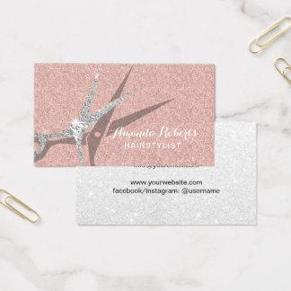 Tarjeta De Visita Salón de pelo color de rosa moderno del brillo del
