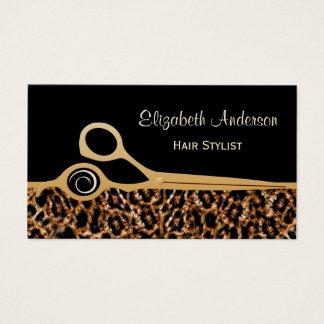 Tarjeta De Visita Salón de pelo elegante del leopardo del negro y