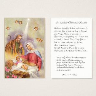 Tarjeta De Visita San José, madre Maria, bebé Jesús, ángeles santos