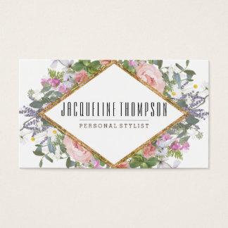 Tarjeta De Visita Se ruborizan las flores florales geométricas