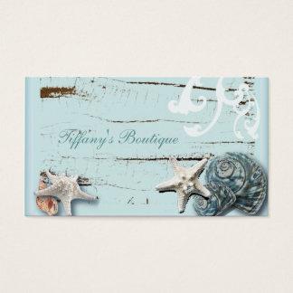 Tarjeta De Visita Seashells azules de las estrellas de mar de la