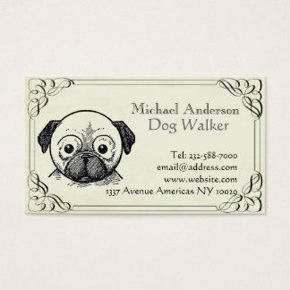 Tarjeta De Visita Sentada del veterinario y del mascota