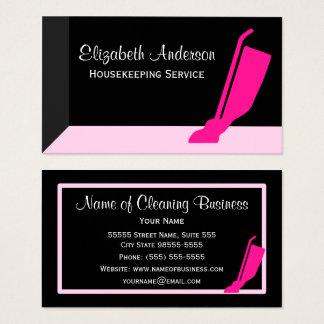Tarjeta De Visita Servicio rosado y negro del vacío femenino de la