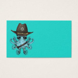 Tarjeta De Visita Sheriff lindo del pulpo del bebé azul