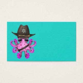 Tarjeta De Visita Sheriff rosado lindo del pulpo del bebé