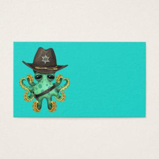 Tarjeta De Visita Sheriff verde lindo del pulpo del bebé