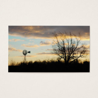 Tarjeta De Visita Silueta arbolada de la granja del molino de viento
