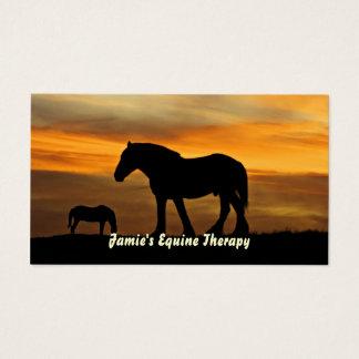 Tarjeta De Visita Silueta de caballos en el terapeuta equino de la