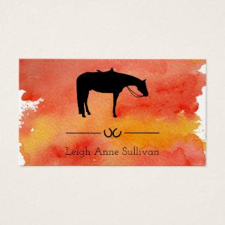 Tarjeta De Visita Silueta occidental negra del caballo en acuarela