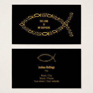 Tarjeta De Visita Símbolo cristiano de oro el | de los pescados