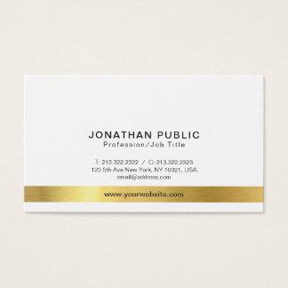 Tarjeta De Visita Simple blanco del oro elegante moderno profesional
