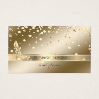 Tarjeta De Visita Sofisticado elegante, confeti del oro, tacones
