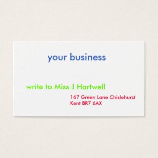 Tarjeta De Visita su negocio, 167 carril verde Chislehurst Kent…