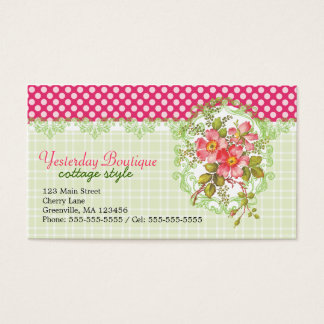Tarjeta De Visita Sueño rosado de la cabaña de las flores del