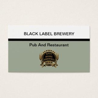 Tarjeta De Visita Tema de la cervecería y del restaurante