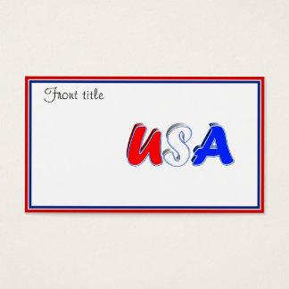 Tarjeta De Visita Texto blanco y azul rojo de los E.E.U.U.