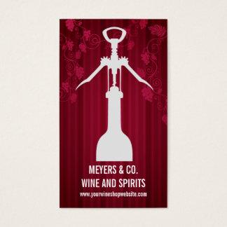 Tarjeta De Visita Tienda de vino del sacacorchos