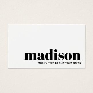 Tarjeta De Visita Tipografía blanca negra moderna intrépida