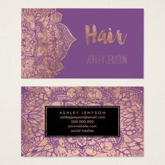 Tarjeta De Visita Tipografía color de rosa púrpura del pelo de la