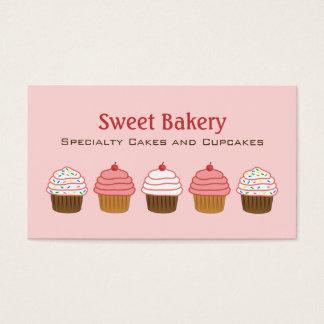 Tarjeta De Visita Torta femenina de la magdalena rosada elegante de
