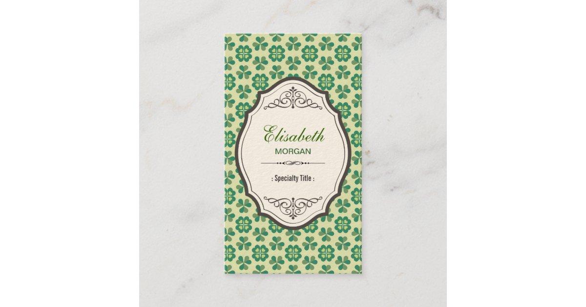 Tarjeta De Visita Trébol afortunado verde clásico - marco elegante ...