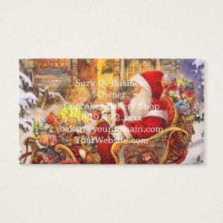 Tarjeta De Visita Trineo de Santa - ilustracion de Papá Noel